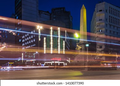 Belo Horizonte/MG/Brazil - May 28th 2019: Long exposure of traffic light trails on Downtown BH with the Obelisk in September 7th Square (Praça Sete de Setembro) and Cine Theatro Brasil Vallourec