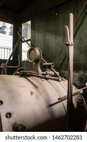 Belo Horizonte/Minas Gerais/Brazil- ABR 18 2019: Partial View Details 19th Century Locomotive inside the Abílio Barreto Historical Museum