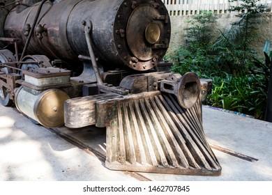 Belo Horizonte/Minas Gerais/Brazil- ABR 18 2019: Partial View 19th Century Locomotive inside the Abílio Barreto Historical Museum