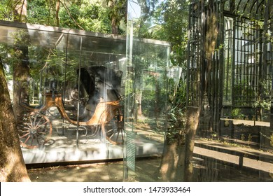 Belo Horizonte/Minas Gerais/Brazil- ABR 18 2019: Partial View detail 19th century Coche inside of the Abílio Barreto Historical Museum