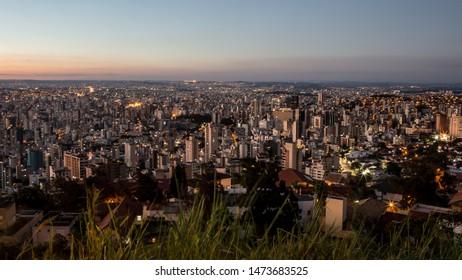 Belo horizonte/Minas Gerais/Brazil - ABR 19 2019: Partial view Evenig in the city of Belo Horizonte
