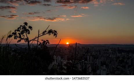 Belo horizonte/Minas Gerais/Brazil - ABR 19 2019: Partial view Sunset in the city of Belo Horizonte