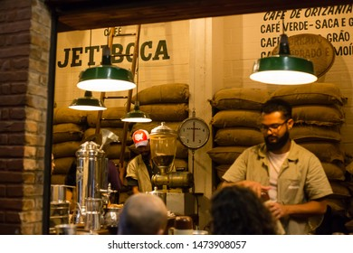 Belo horizonte/Minas Gerais/Brazil - ABR 19 2019: Partial view of Jetiboca Coffee Shop interior in New Market
