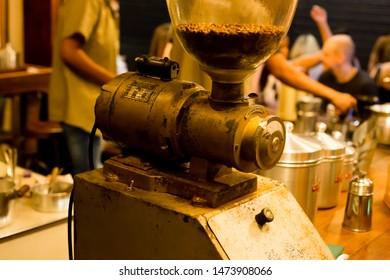 Belo horizonte/Minas Gerais/Brazil - ABR 19 2019: Partial view Coffee Grinder of Jetiboca Coffee Shop interior in New Market