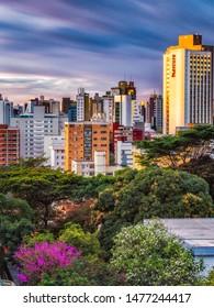Belo Horizonte/Minas Gerais/Brazil - August 07th, 2019: Cityscape During Sunset in Long Exposure. Highlight to Mercure Belo Horizonte Lourdes Hotel Building