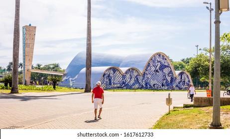 Belo Horizonte/Minas Gerais/Brazil - DEZ 27 2019: Pampulha Church Square