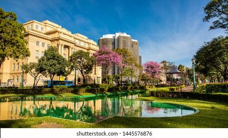 Belo Horizonte/Minas Gerais/Brazil- JUL 06 2019: Partial View Liberty Square