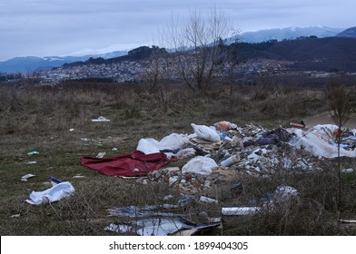 BELOGRADCHIK, BULGARIA - JANUARY 07, 2021: Domestic waste landfill on the outskirts of the town in autumn