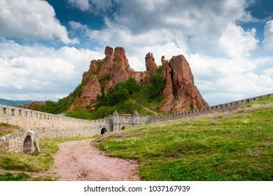 Belogradchik cliff rocks and wall at ancient Kaleto fortress, Bulgaria