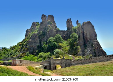 Belogradchik Fortress and Rocks on a clear sunny day at Bulgaria.