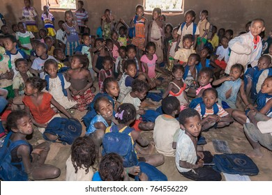 Belon'i Tsiribihina, June 29, 2017: Schoolchilds in a bush school from tribal villages along the river Tsiribihina, Western Madagascar.