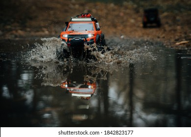 Beloozerskiy, Russia - OCTOBER 18, 2020 : radio-controlled model of an off-road car, trophy crossing.