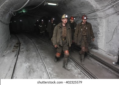 BELOVO, RUSSIA JULY 17, 2015: Miners are sent underground to the workplace