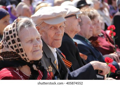 BELOVO, RUSSIA MAY 09, 2015: Veterans of the Great Patriotic War during the rally dedicated to May 9