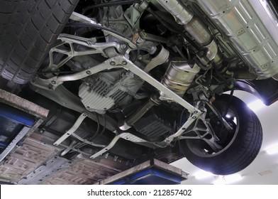 Below the car