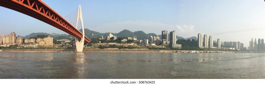 Below the Qiansimen Bridge along the Yangtze River in Chongqing, China