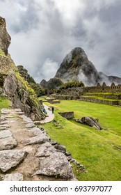 Below the scared plaza looking toward huayna picchu across the main plaza
