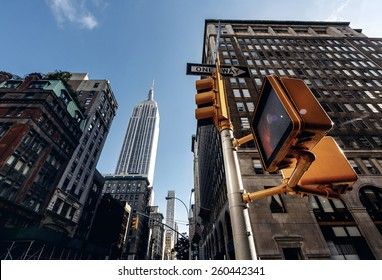 Below view from street on Empire state building in New York, USA