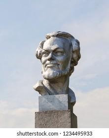 Belozersk, Russia - July 22, 2013: Bust of russian poet Sergey Orlov