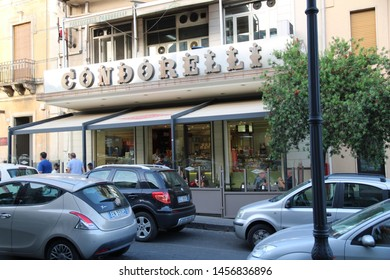 """Belpasso - Italy / July 14, 2019. The famous bar - café of Condorelli in Belpasso. Known for its very good cookies but also for the """"granita"""", a kind of frozen fruit slurry as in these pictures."""