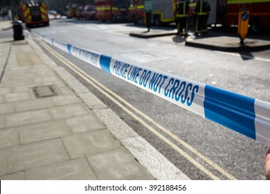 Belsize Park, London, UK, 13th March, 2016. Police Line at a fire at three-storey semi-detached house in Antrim Grove