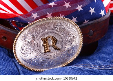 Belt buckle on denim jeans with patriotic material. Might be able to be used as a background