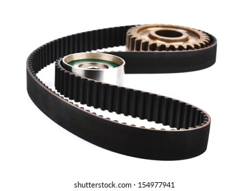 belt car engine isolated white background.Automobile spare part,tension pulley