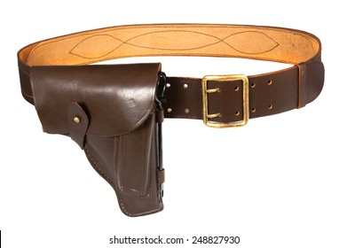 Belt with holster isolated on white background - Shutterstock ID 248827930