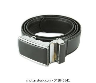 belt or men's black belt on a white background