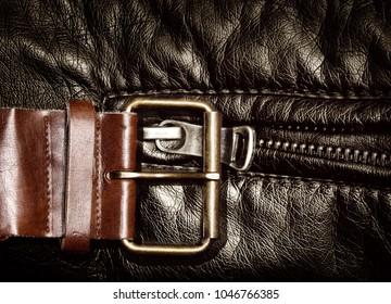 belt and metallic zipper in black leather