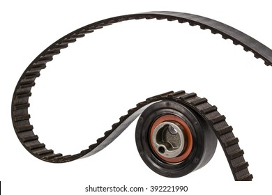Belt and tensioner roller close-up, isolated on white background