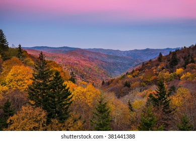 Belt of Venus and fall foliage at the Oconaluftee Overlook in the Great Smoky Mountains