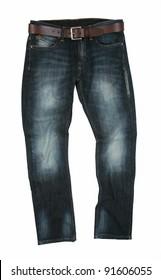 Belted Modern Stone Washed Denim Stylized Jeans