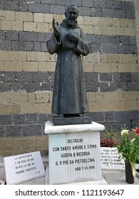 Beltiglio, Campania, Italy - 8 June 2018: Statue of Padre Pio on the churchyard of the Church of the Most Holy Rosary of the Blessed Virgin Mary