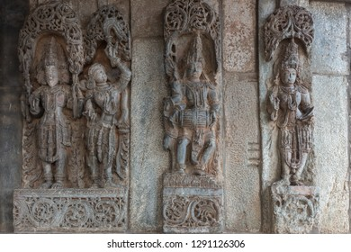 Belur, Karnataka, India - November 2, 2013: Chennakeshava Temple. Statues on wall of nobility, builders and sponsors of the construction of the temple.