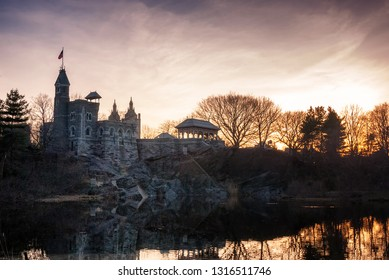 Belvedere Castle in New York City's Central Park at sunset on a spring day