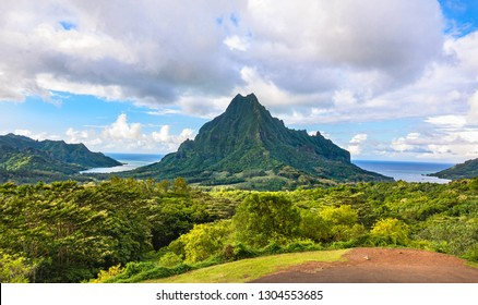Belvedere lookout - view of Mount Rotui with Cooks bay and Opunohu bay, Moorea, Tahiti French Polynesia, Society Islands