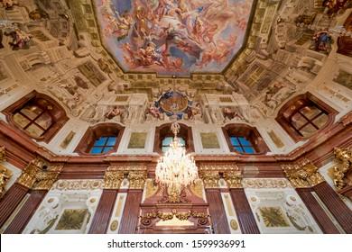 Belvedere Museum. Vienna Austria. Marmorsaal (Marble Hall). Vienna Austria November 2019