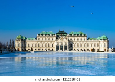 The Belvedere palace in Vienna at winter