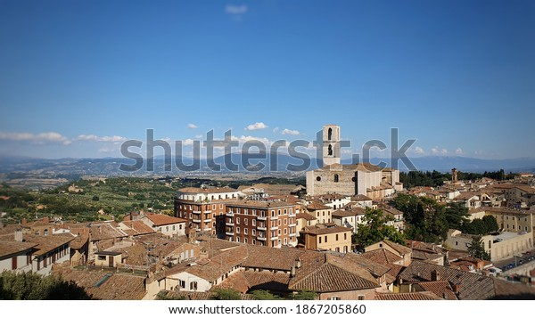 Belvedere of Perugia with San Domenico Basilica in the middle of the scene.