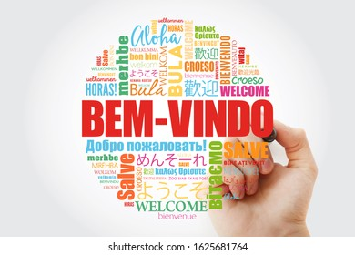 Bem-Vindo (Welcome in Portuguese) word cloud with marker in different languages, conceptual background