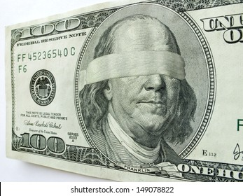 Ben Franklin Blindfolded on One Hundred Dollar Bill illustrates mixed Economic direction or uncertainty, business troubles, profits, income tax issues, budget shortfalls, salaries and revenue/income