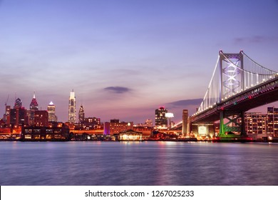 Ben Franklin Bridge in Philadelphia at sunset, USA
