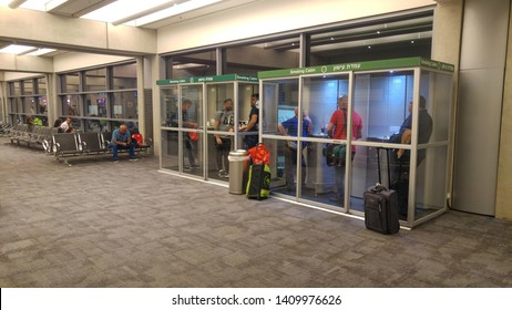 BEN GURION AIRPORT, TEL AVIV, ISRAEL. May 28, 2019. Smoking booths in the Ben Gurion international airport terminal. Smoking area in the airport concept, where smoking is permitted.