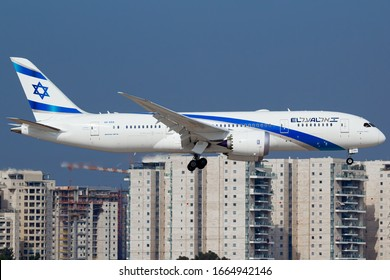 Ben Gurion Airport, Tel Aviv, Israel - February 18 2020: An El Al Israel Airlines Boeing 787 on short final to Runway 12 at Ben Gurion airport, Tel Aviv, Israel.