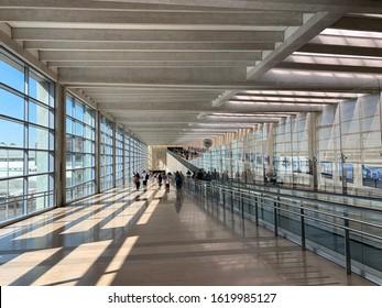 BEN GURION, ISRAEL - MAY 12, 2019: Glass corridor at Ben Gurion Airport Third Terminal