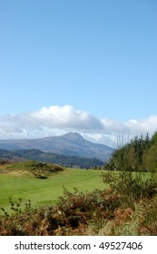 Ben Lomond from Aberfoyle golf course on a sunny autumnal day