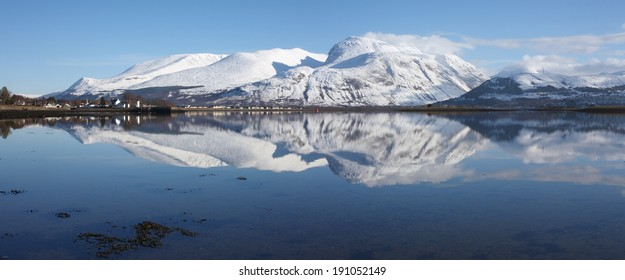 Ben Nevis, highest mountain in the UK, a popular winter holiday destination in the Scottish Highlands.