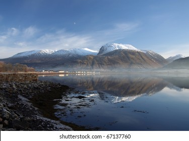 Ben Nevis and Loch Linnhe on a cold Novembers day.
