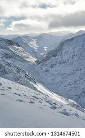 Ben Nevis mountains during winter in Nevis Range, Scotland.